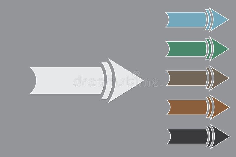 Set kolorowe prawe strzały lub pointer wektorowa ilustracja na czarnym tle pokazywać kierunki royalty ilustracja