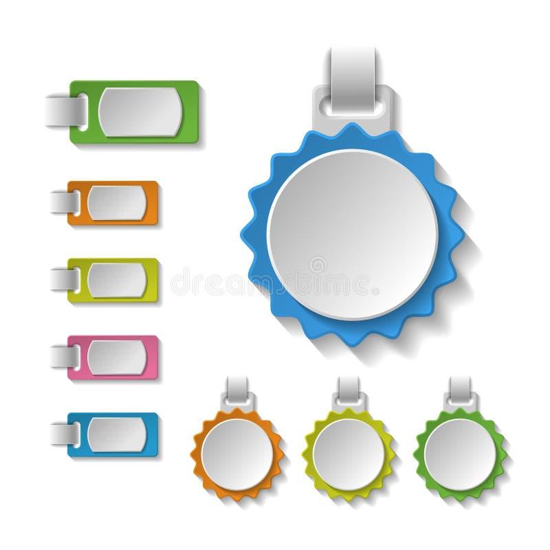 Set kolorowe puste odznaki, etykietki, sztandary, etykietka ilustracja wektor