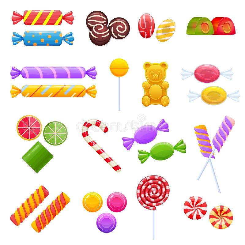 Set kolorowe słodkie czekolady, desery, asortowany wyśmienicie jedzenie ilustracja wektor