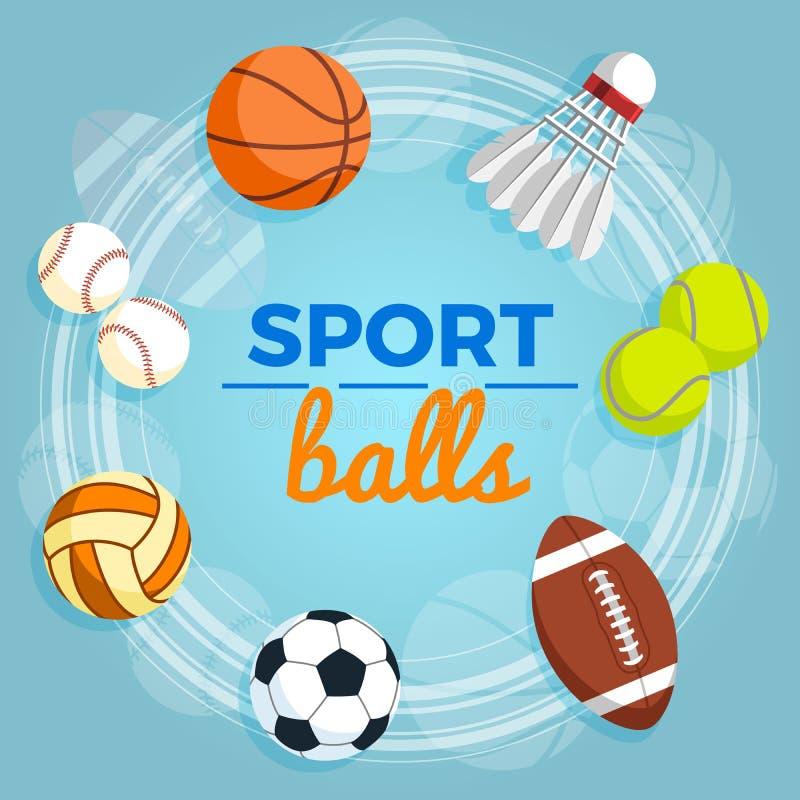 Set kolorowe sport piłki przy błękitnym tłem Piłki dla rugby, siatkówka, koszykówka, futbol, baseball, tenis ilustracji