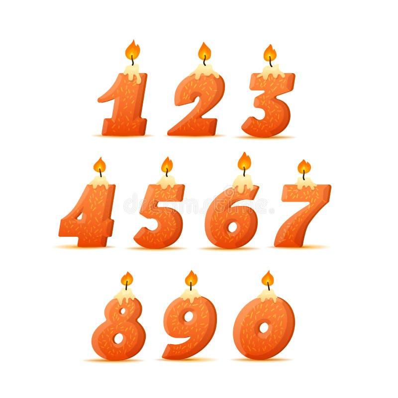 Set kolorowe urodzinowe świeczek liczby Wick i ogień r?wnie? zwr?ci? corel ilustracji wektora ilustracji