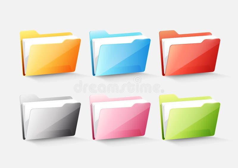 Set kolorowego dokumentu skoroszytowa adresowa ikona odizolowywająca na bielu popielatym, przejrzysta wektorowa ilustracja ilustracja wektor