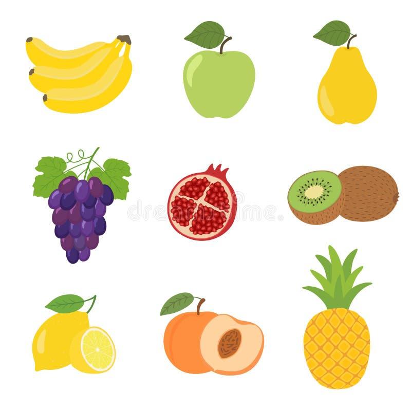 Set kolorowej kreskówki owocowe ikony jabłko, bonkreta, brzoskwinia, banan, winogrona, kiwi, cytryna, granatowiec, ananas royalty ilustracja
