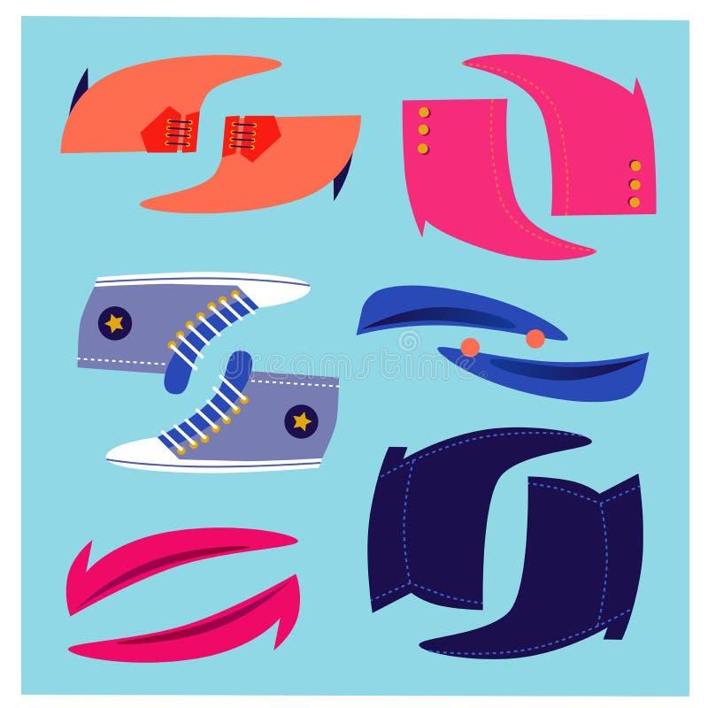 Śmieszni buty Ustawiający ilustracji