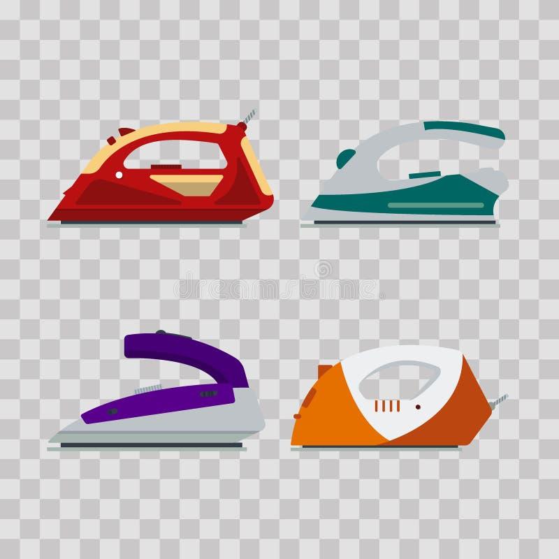 Set kolorowi żelaza na przejrzystym tle - wektorowa ilustracja Płaskiego ikona loga elektryczny wyposażenie, odprasowywa ilustracji