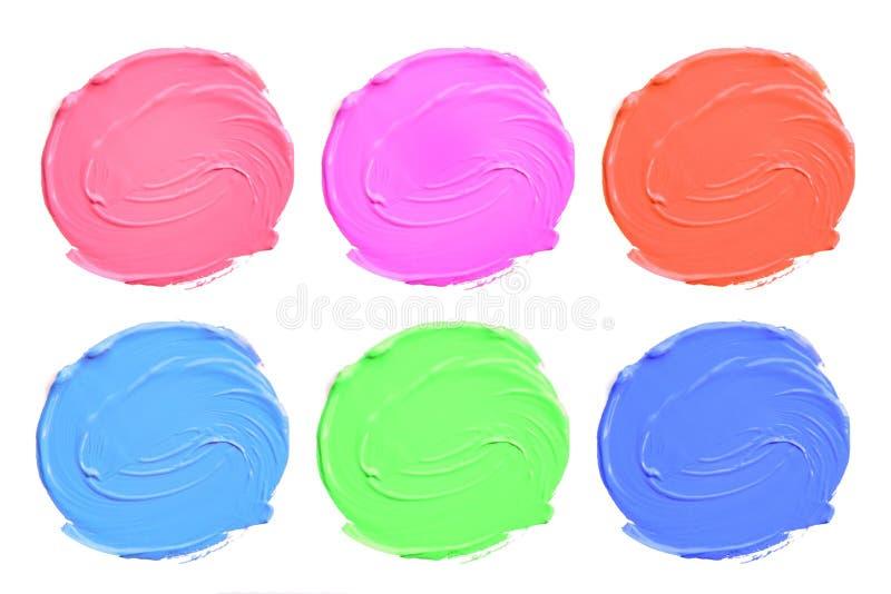 Set kolorowi akrylowi kleksy odizolowywa na bielu zdjęcie stock