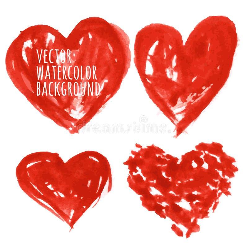 Set Kolorowi akwareli serca, wektorowa ilustracja ilustracja wektor