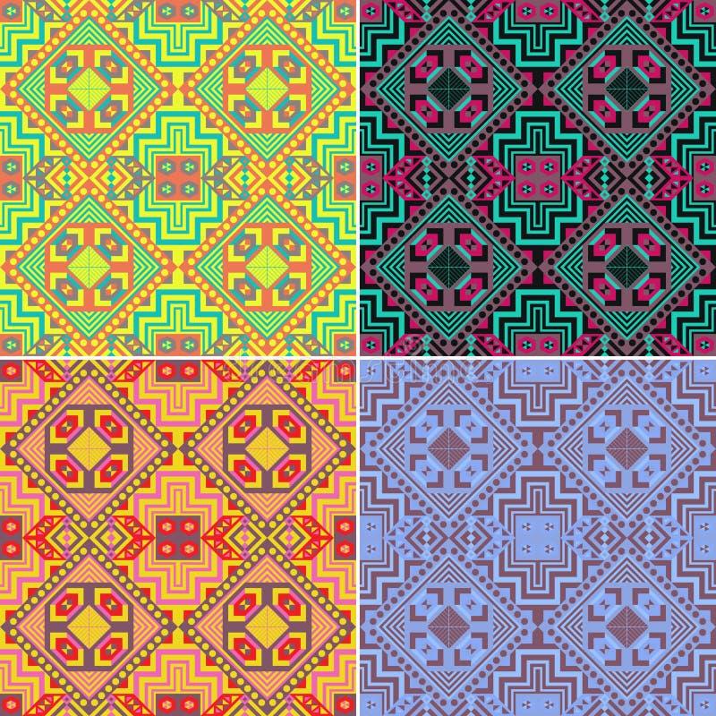 Set kolorowi bezszwowi geometryczni wzory ethnic ilustracji