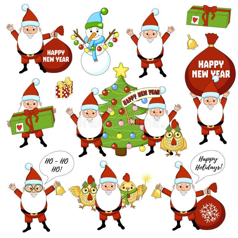 Set kolorowi boże narodzenie charaktery, dekoracje i Szczęśliwego nowego roku duży set z choinką, prezent, dzwon, kogut, kogut, s royalty ilustracja