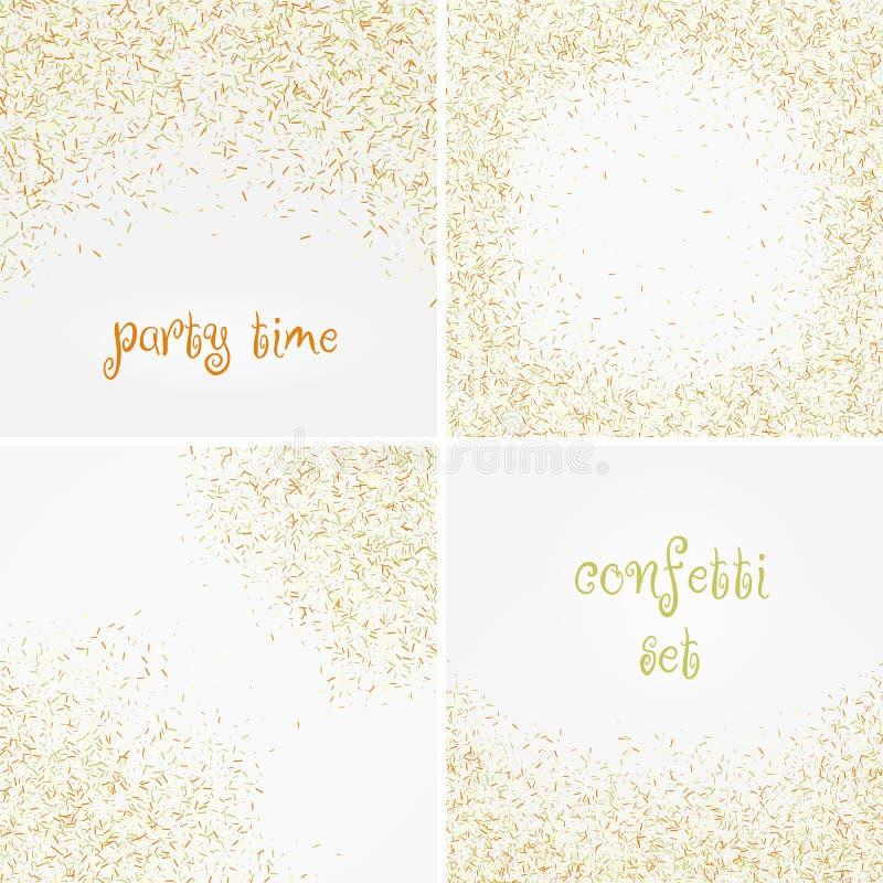 Set kolorowi confetti spadki odizolowywający nad białym tłem również zwrócić corel ilustracji wektora fotografia royalty free