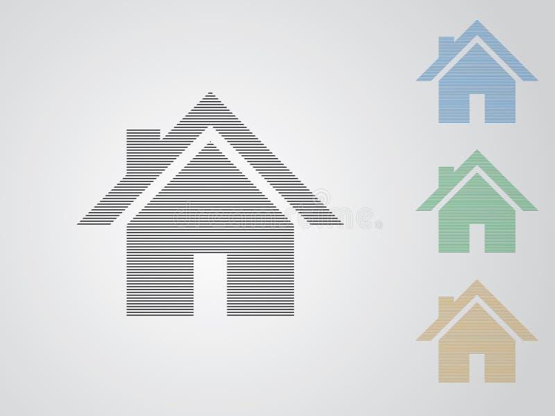 Set kolorowi domowi wektorowi logo dla nieruchomość biznesu używać linie proste na białej tło ilustracji royalty ilustracja