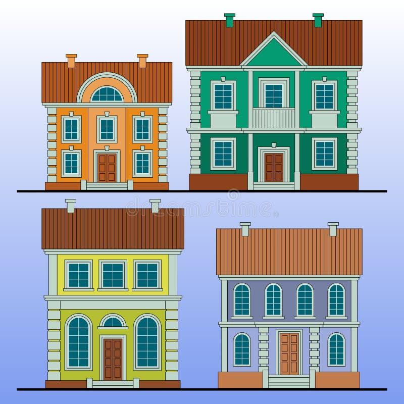 Set kolorowi domy Mieszkanie stylowa wektorowa ilustracja ilustracja wektor