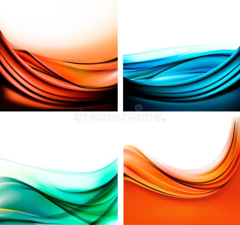 Set kolorowi eleganccy abstrakcjonistyczni tła. royalty ilustracja