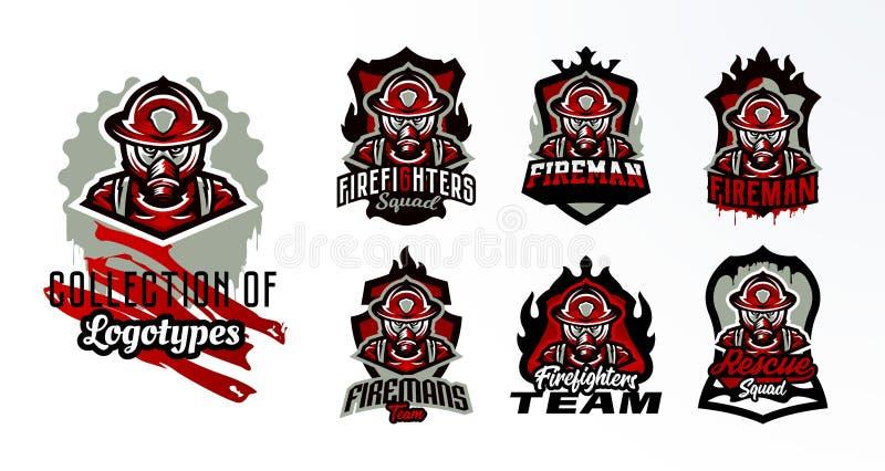Set kolorowi emblematy, majchery, odznaki, logo strażak w masce gazowej Ratownicza jednostka, ochronny wyposażenie royalty ilustracja