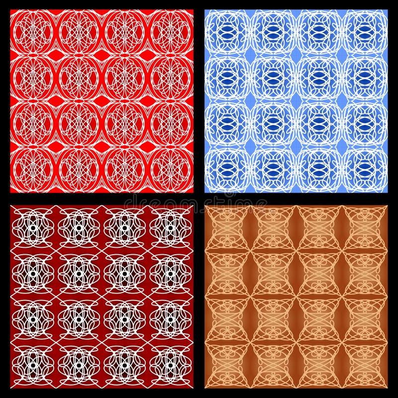 Set kolorowi geometryczni wzory w rocznika stylu, art deco monoline ornament royalty ilustracja