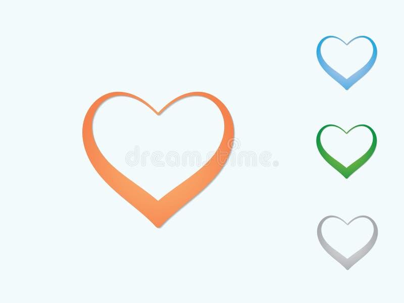 Set kolorowi kierowi kształtów logo pokazywać miłości dla ukochanej osoby na lekkim tle ilustracja wektor