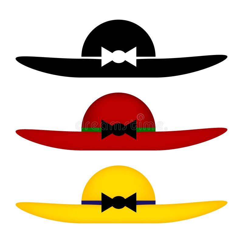 Set kolorowi kobieta kapelusze royalty ilustracja