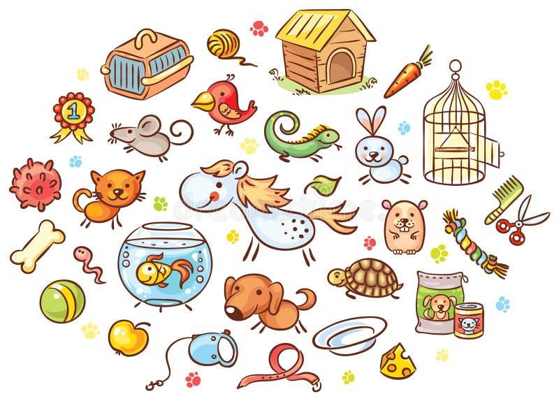 Set kolorowi kreskówki zwierzęcia domowego zwierzęta z akcesoriami, zabawkami i jedzeniem, royalty ilustracja