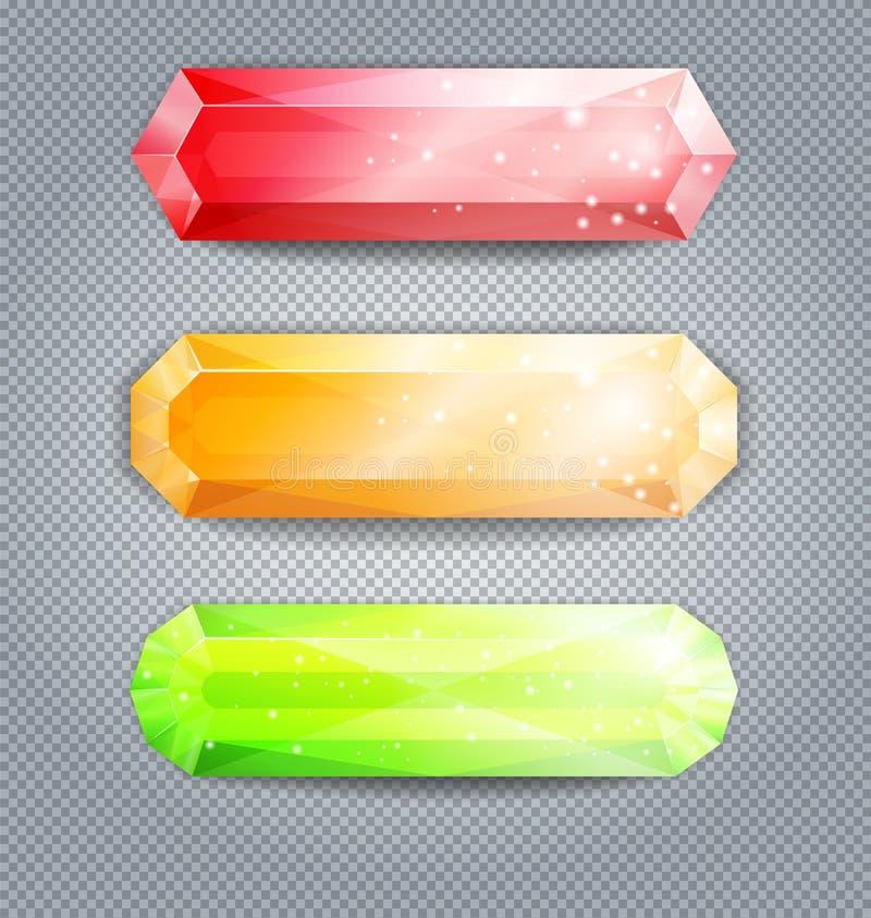 Set kolorowi krystaliczni guziki, odosobniony na przejrzystym backgro ilustracja wektor