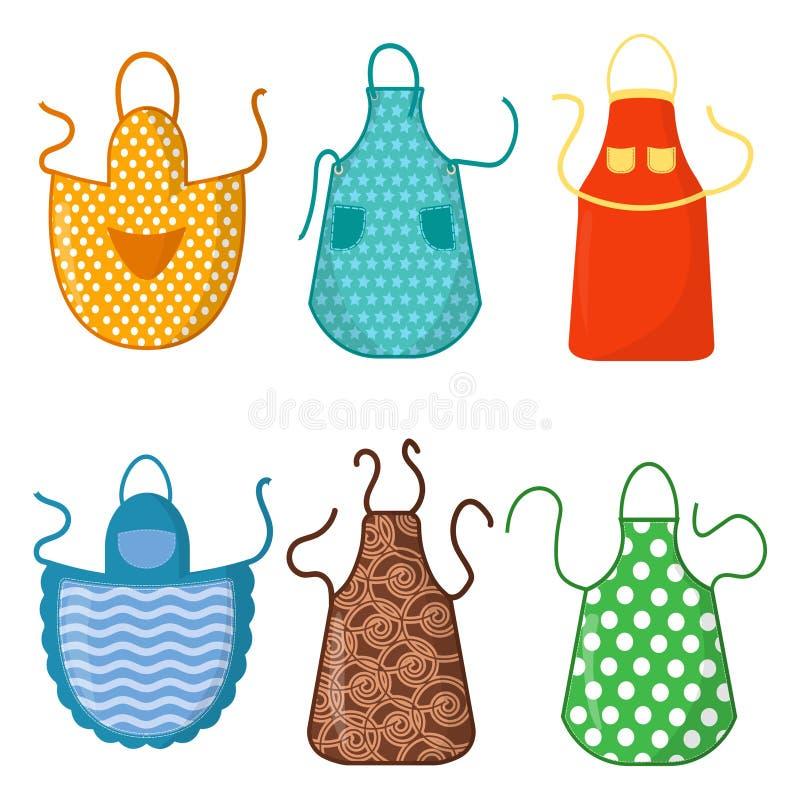 Set kolorowi kuchenni fartuchy z wzór ikonami odizolowywać na białym tle Ochronna szata Kulinarna suknia dla royalty ilustracja