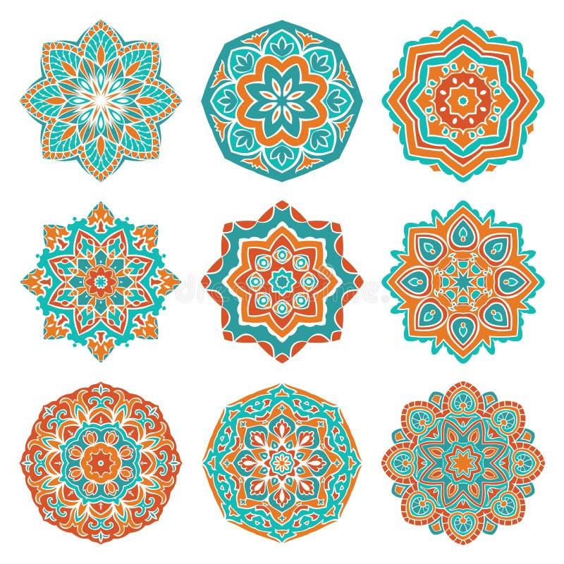 Set kolorowi mandalas royalty ilustracja