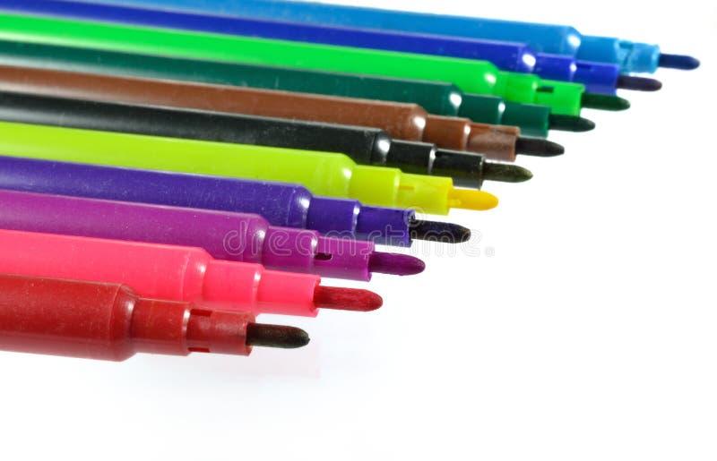 Set kolorowi markiery odizolowywający na bielu zdjęcie stock