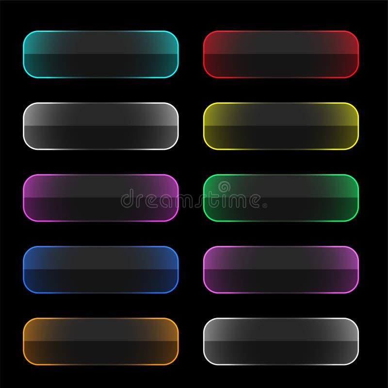 Set kolorowi neonowi sieć guziki ilustracja wektor
