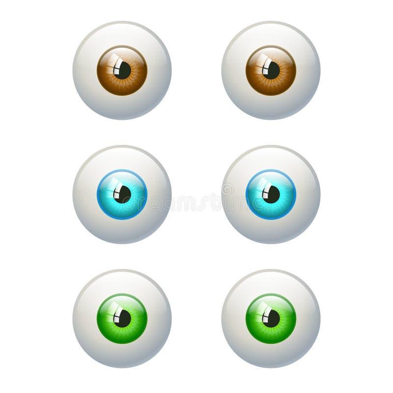 Set kolorowi oczy Brown, błękit, zielony oko ilustracja wektor