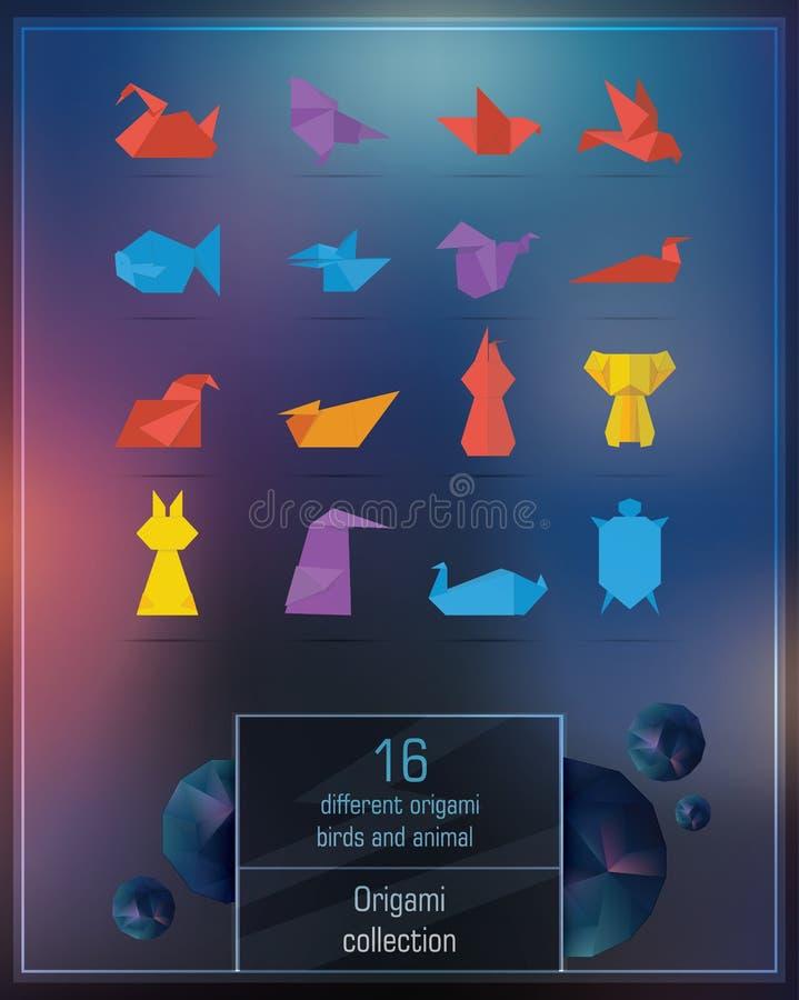 Set kolorowi origami zwierzęta fotografia stock