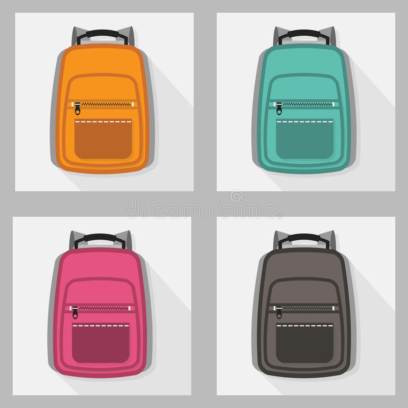Set kolorowi plecaki z długim cieniem royalty ilustracja