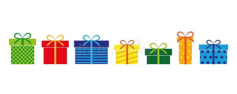 Set kolorowi prezenty teraźniejsi dla urodziny i bożych narodzeń ilustracja wektor