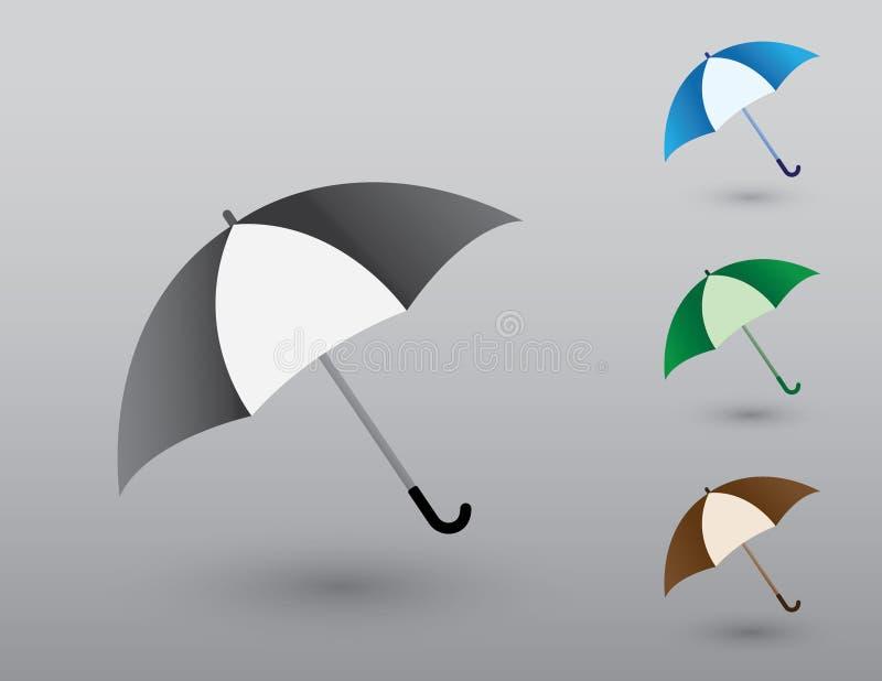 Set kolorowi prości parasole ochraniać od dżdżystej pogodowej wektorowej ilustracji ilustracji