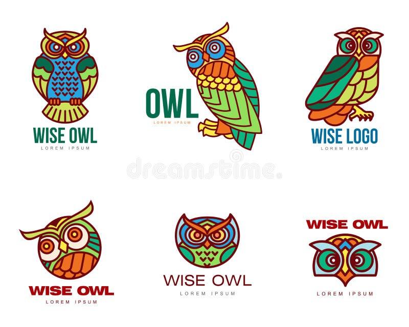 Set kolorowi sowa loga szablony ilustracji