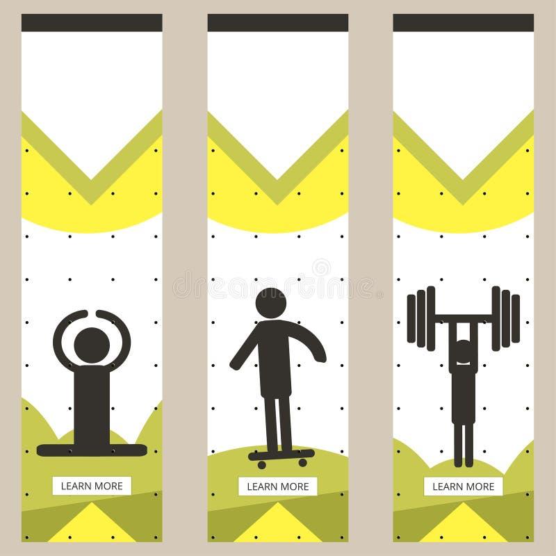 Set kolorowi sportów sztandary w stylu minimalizmu mieszkania dla handlowych stron internetowych Jogowie, łyżwiarka i weightlifti ilustracja wektor
