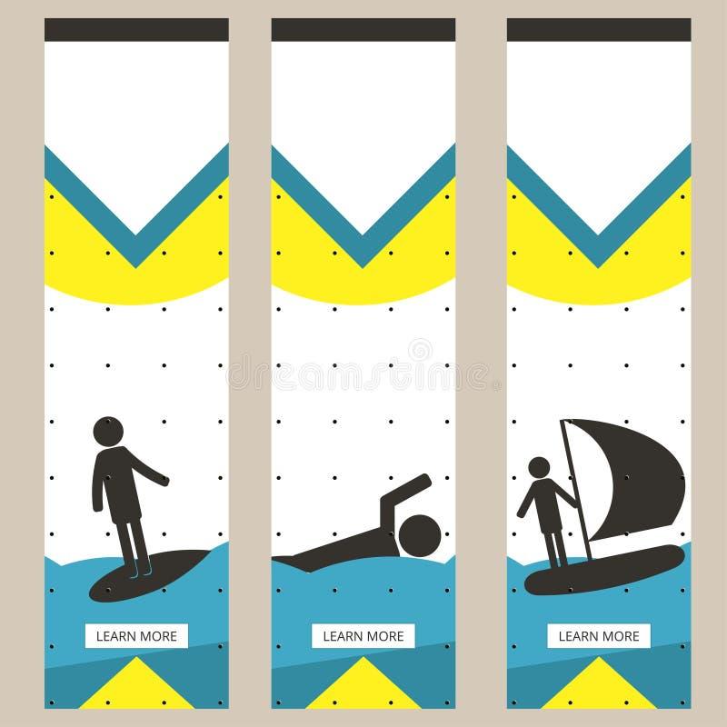 Set kolorowi sportów sztandary w stylu minimalizmu mieszkania dla handlowych stron internetowych Surfing, dopłynięcie i jachting, royalty ilustracja