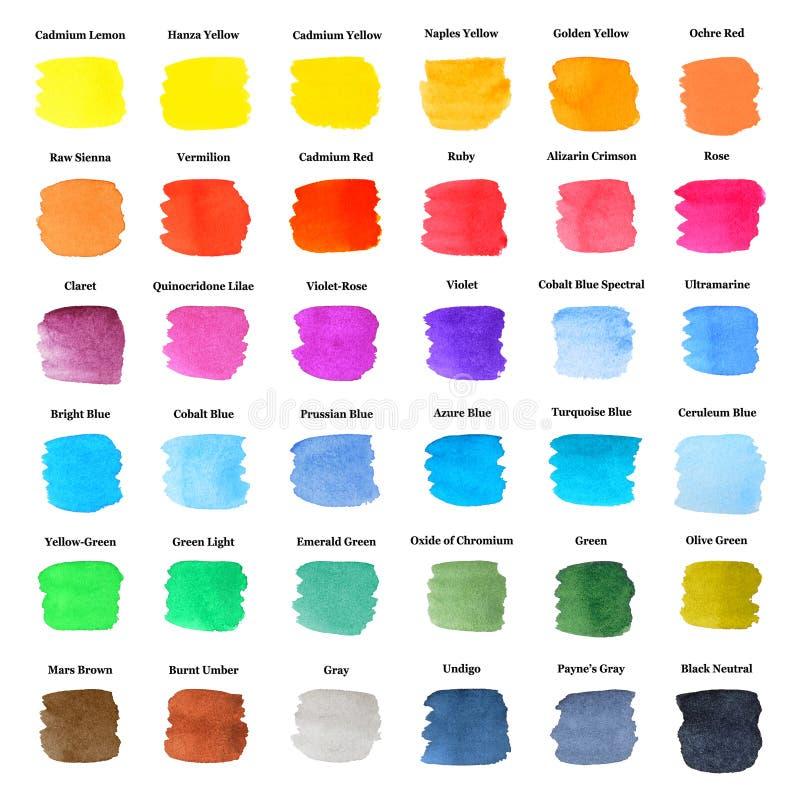 Set Kolorowi Uderzenia jako Akwareli Paleta ilustracji