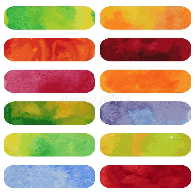 Set kolorowi watercolour sztandary. royalty ilustracja