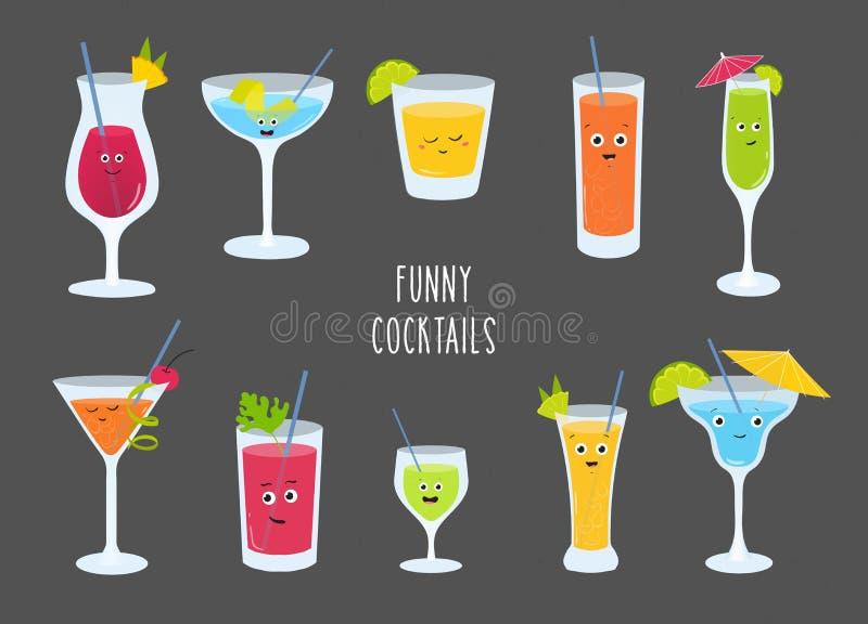 Set kolorowy alkohol i miękcy napoje, koktajl, smoothies, lemoniady z śliczny ono uśmiecha się stawia czoło Plik smakowity śmiesz ilustracji