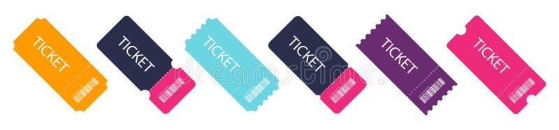 Set kolorowy bilet Puści szablonów bilety ilustracja wektor