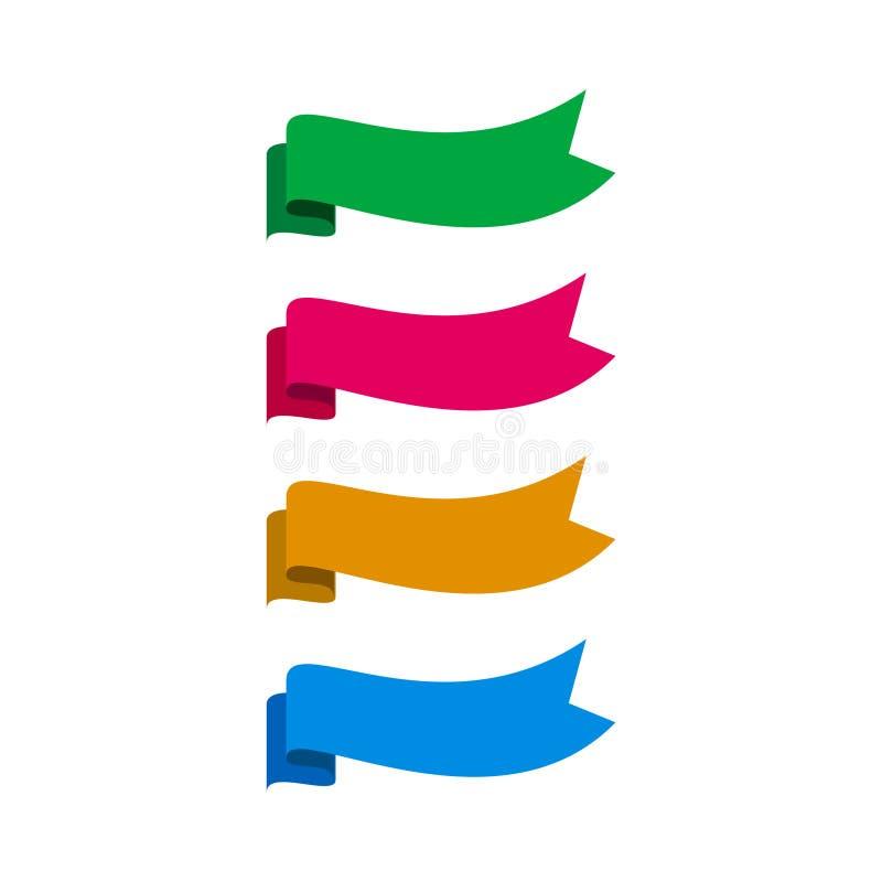 Set kolorowy faborku sztandar ilustracji