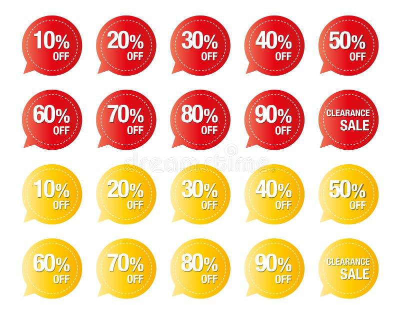 Set kolorowy metka wektor odizolowywający na bielu, etykietki dla dyskontowych sprzedaży ilustracja wektor