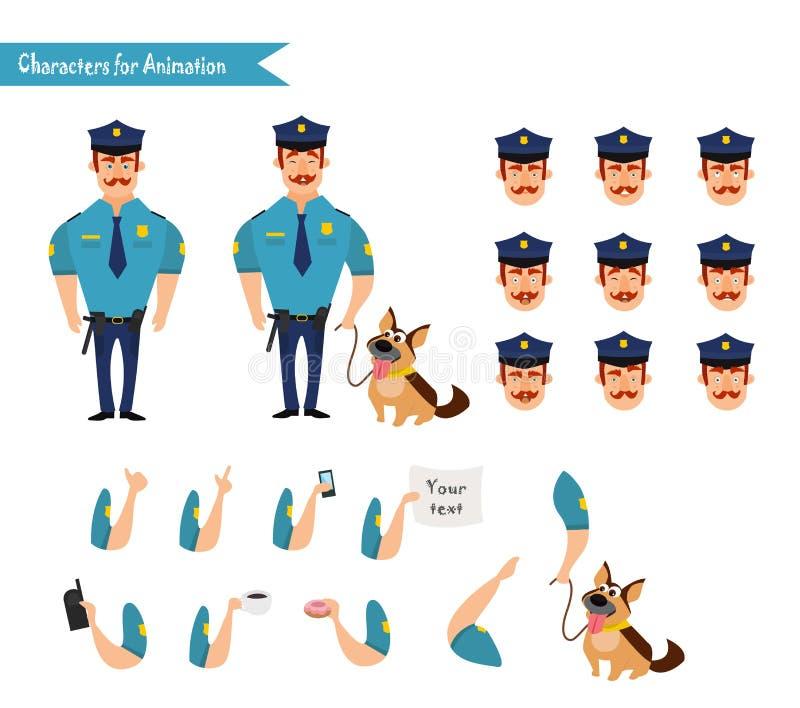 Set kolorowy odosobniony wektorowy policjant przy pracą ilustracji