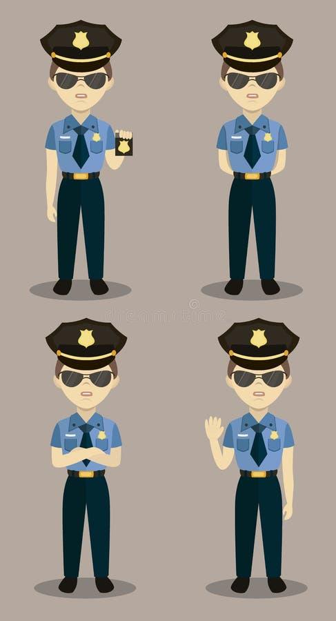 Set kolorowy odosobniony wektorowy policjant przy pracą royalty ilustracja