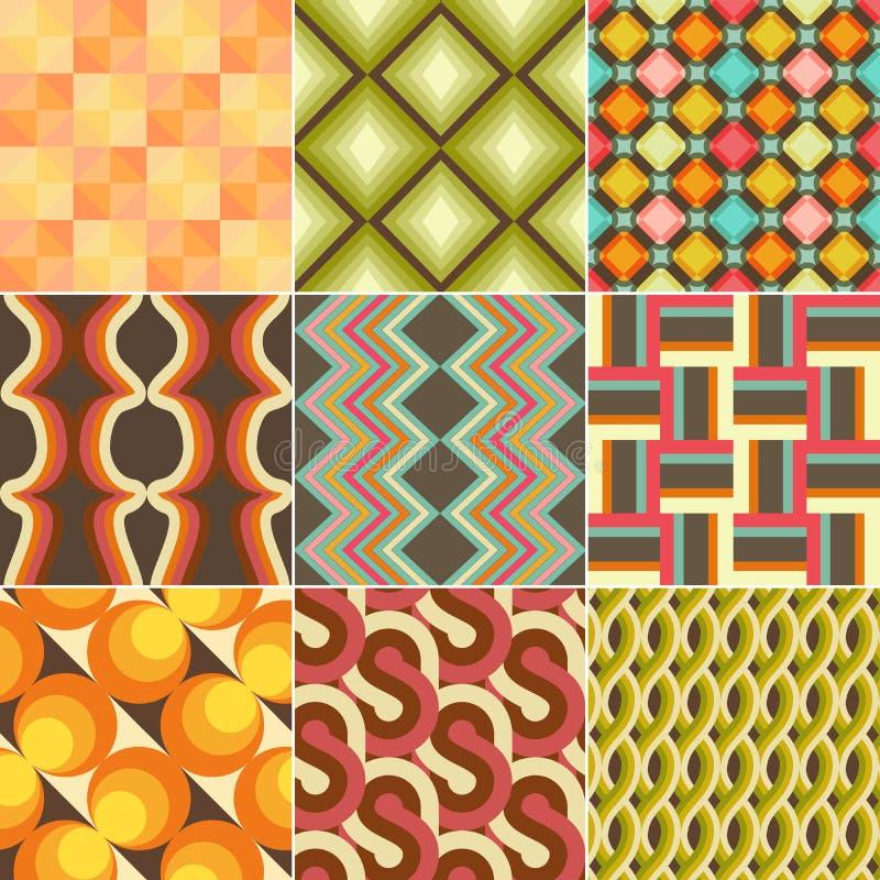 Set Kolorowy Retro Bezszwowy wzór royalty ilustracja
