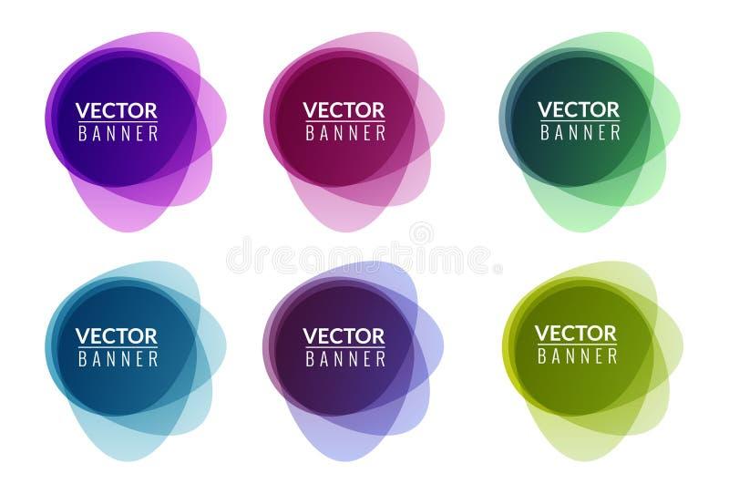 Set kolorowy round abstrakcjonistyczny sztandar narzuty kształt Graficzny sztandaru projekt Etykietki zabawy etykietki graficzny  royalty ilustracja