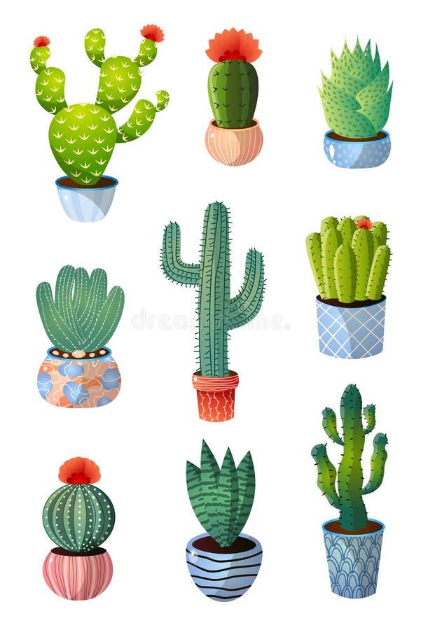 Set kolorowy zielony kaktus w garnku dla domowej dekoracji royalty ilustracja