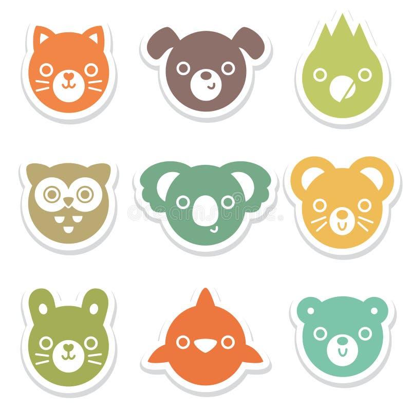 Set kolorowy zwierzę i ptasi twarz majchery ilustracji