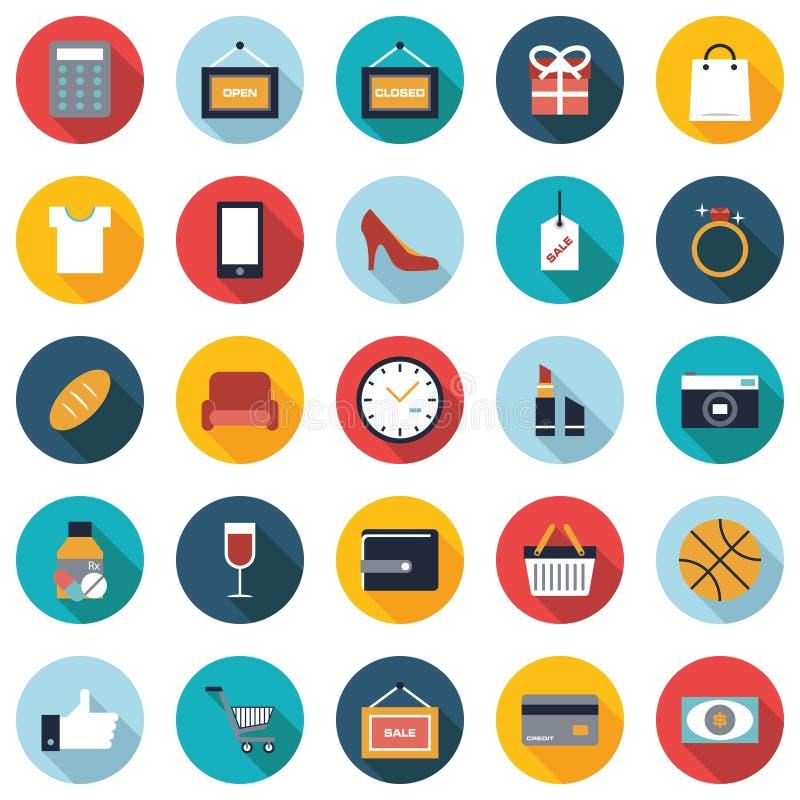 Set 25 kolorowych zakupy mieszkania ikon ilustracji