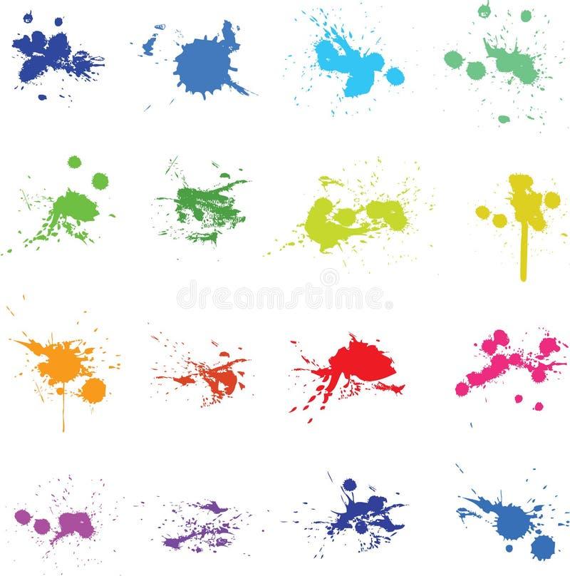 Set koloru atramentu farby splat ilustracji