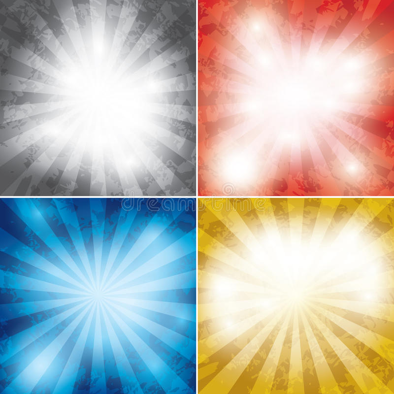 Set koloru grunge tło z promieniami ilustracja wektor